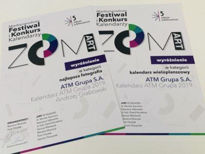 Kalendarz ATM GRUPA 2019 wyróżniony!